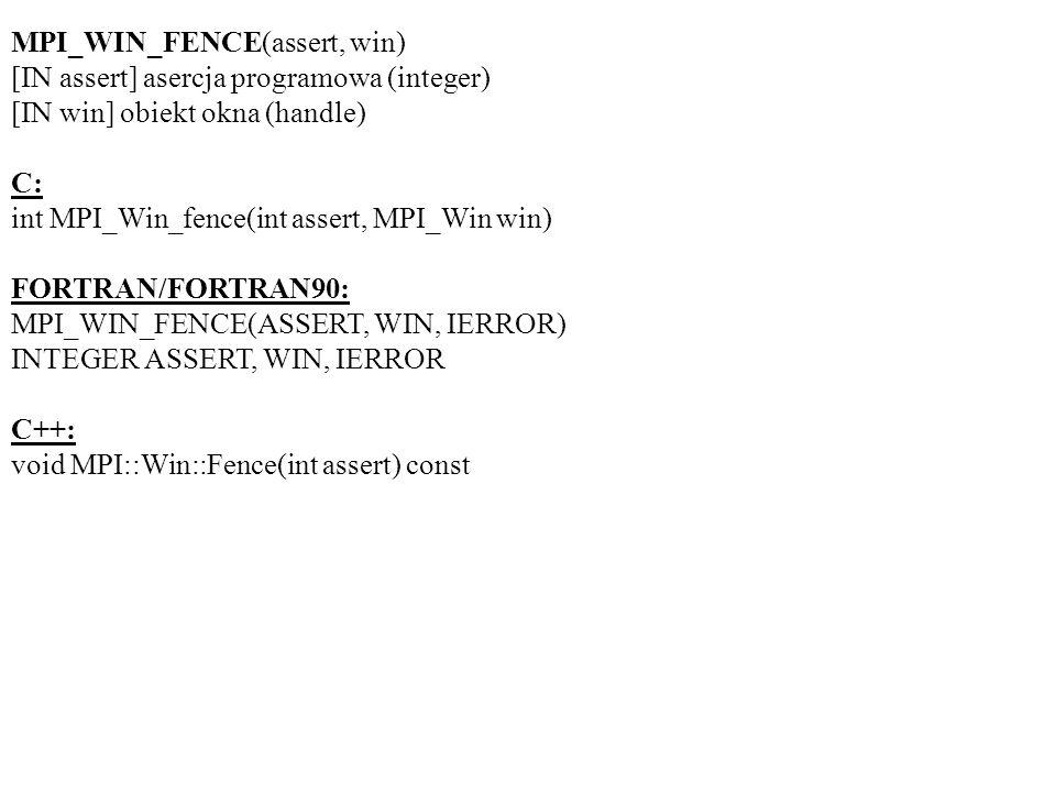 MPI_WIN_FENCE(assert, win) [IN assert] asercja programowa (integer) [IN win] obiekt okna (handle) C: int MPI_Win_fence(int assert, MPI_Win win) FORTRAN/FORTRAN90: MPI_WIN_FENCE(ASSERT, WIN, IERROR) INTEGER ASSERT, WIN, IERROR C++: void MPI::Win::Fence(int assert) const