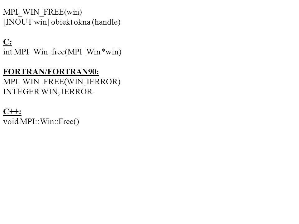 MPI_WIN_FREE(win) [INOUT win] obiekt okna (handle) C: int MPI_Win_free(MPI_Win *win) FORTRAN/FORTRAN90: MPI_WIN_FREE(WIN, IERROR) INTEGER WIN, IERROR C++: void MPI::Win::Free()