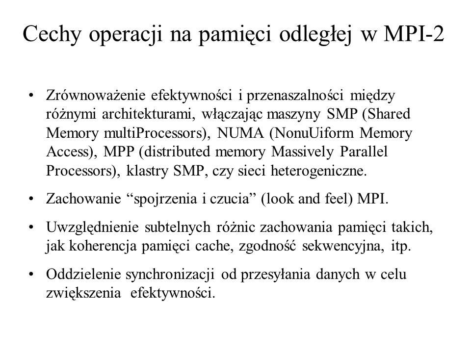 MPI_Reduce(&mypi, &pi, 1, MPI_DOUBLE, MPI_SUM, 0, MPI_COMM_WORLD); if (myid == 0) printf( pi is approximately %.16f, Error is %.16f\n , pi, fabs(pi - PI25DT)); } MPI_Finalize(); MPI_Win_fence( 0, piwin); MPI_Accumulate(&mypi, 1, MPI_DOUBLE, 0, 0, 1, MPI_DOUBLE, MPI_SUM, piwin); MPI_Win_fence(0, piwin); if (myid == 0) printf( pi is approximately %.16f, Error is %.16f\n , pi, fabs(pi - PI25DT)); } MPI_Win_free(&nwin); MPI_Win_free(&piwin); MPI_Finalize();