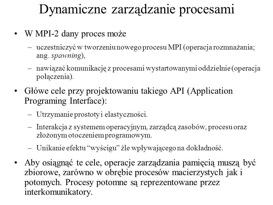 MPI_FILE_CLOSE(fh) [ INOUT fh] pokrętło pliku (handle) C: int MPI_File_close(MPI_File *fh) FORTRAN/FORTRAN90: MPI_FILE_CLOSE(FH, IERROR) INTEGER FH, IERROR C++: void MPI::File::Close()