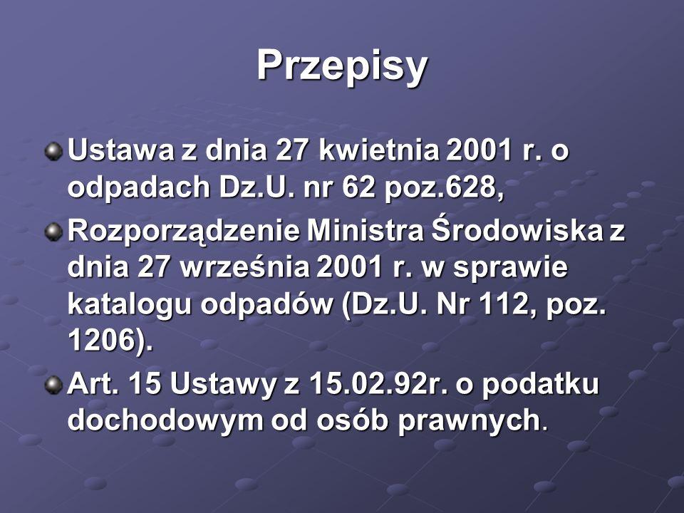 Przepisy Ustawa z dnia 27 kwietnia 2001 r. o odpadach Dz.U. nr 62 poz.628, Rozporządzenie Ministra Środowiska z dnia 27 września 2001 r. w sprawie kat