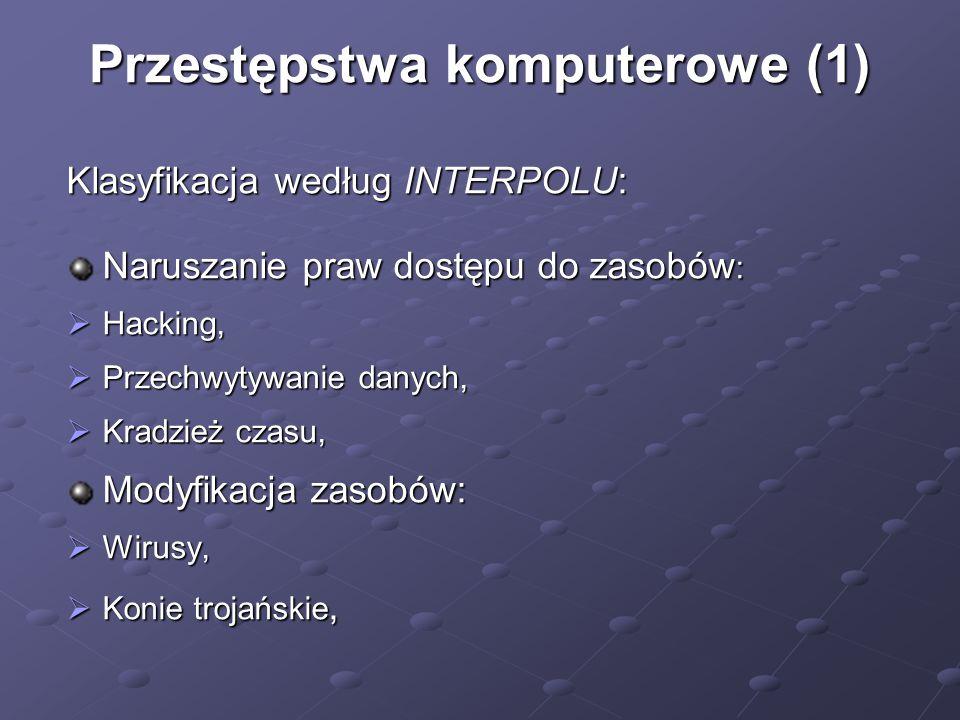 Przestępstwa komputerowe (1) Klasyfikacja według INTERPOLU: Naruszanie praw dostępu do zasobów :  Hacking,  Przechwytywanie danych,  Kradzież czasu