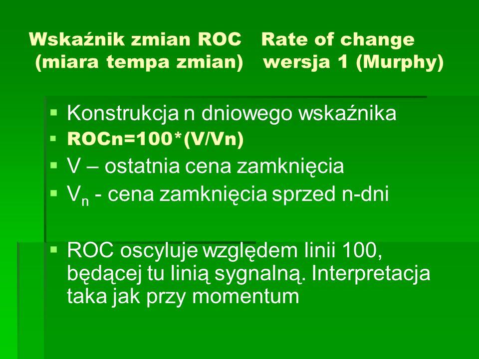 Wskaźnik zmian ROC Rate of change (miara tempa zmian) wersja 1 (Murphy)   Konstrukcja n dniowego wskaźnika   ROCn=100*(V/Vn)   V – ostatnia cena