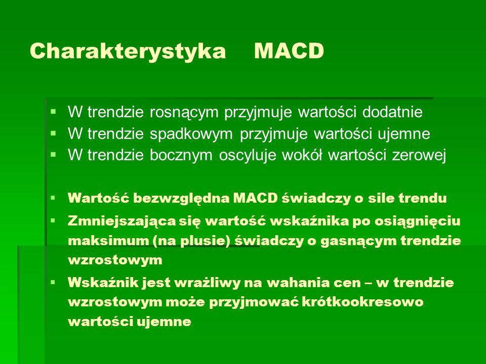 Charakterystyka MACD   W trendzie rosnącym przyjmuje wartości dodatnie   W trendzie spadkowym przyjmuje wartości ujemne   W trendzie bocznym osc