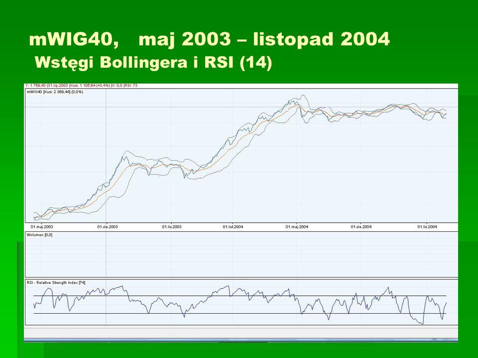 mWIG40, maj 2003 – listopad 2004 Wstęgi Bollingera i RSI (14)