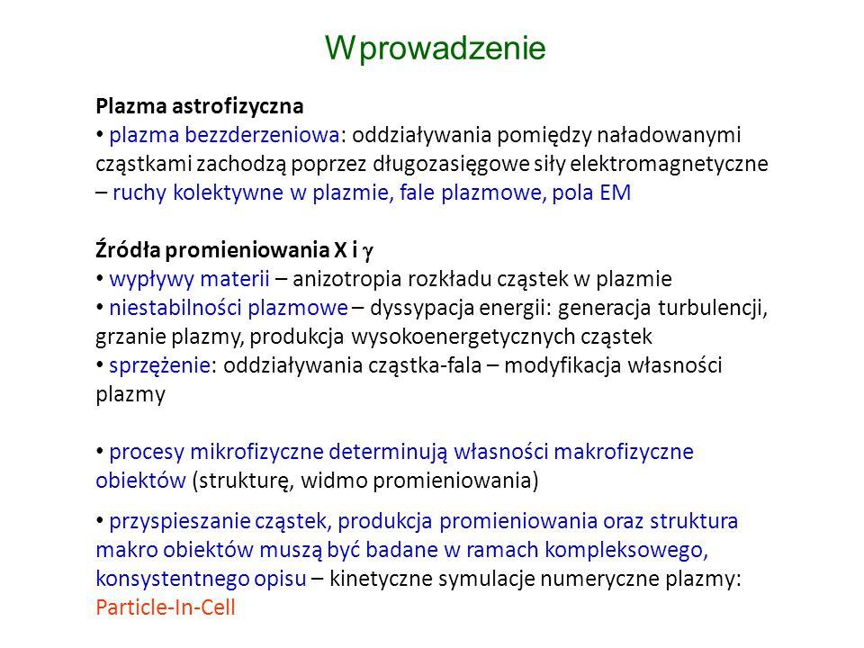 Plazma astrofizyczna plazma bezzderzeniowa: oddziaływania pomiędzy naładowanymi cząstkami zachodzą poprzez długozasięgowe siły elektromagnetyczne – ruchy kolektywne w plazmie, fale plazmowe, pola EM Źródła promieniowania X i  wypływy materii – anizotropia rozkładu cząstek w plazmie niestabilności plazmowe – dyssypacja energii: generacja turbulencji, grzanie plazmy, produkcja wysokoenergetycznych cząstek sprzężenie: oddziaływania cząstka-fala – modyfikacja własności plazmy procesy mikrofizyczne determinują własności makrofizyczne obiektów (strukturę, widmo promieniowania) przyspieszanie cząstek, produkcja promieniowania oraz struktura makro obiektów muszą być badane w ramach kompleksowego, konsystentnego opisu – kinetyczne symulacje numeryczne plazmy: Particle-In-Cell Wprowadzenie