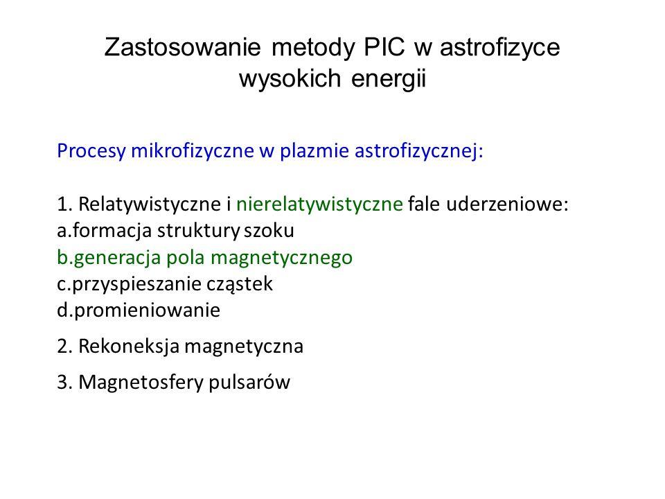 Zastosowanie metody PIC w astrofizyce wysokich energii Procesy mikrofizyczne w plazmie astrofizycznej: 1.