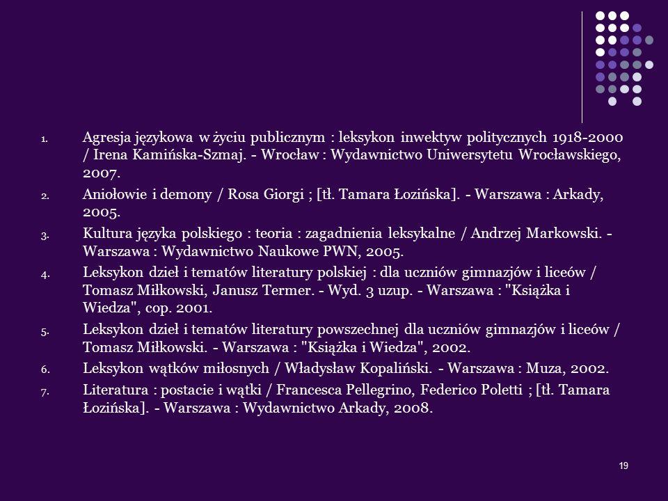 19 1. Agresja językowa w życiu publicznym : leksykon inwektyw politycznych 1918-2000 / Irena Kamińska-Szmaj. - Wrocław : Wydawnictwo Uniwersytetu Wroc