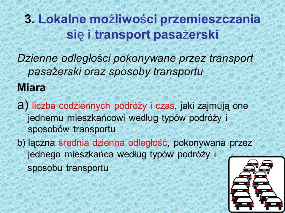 3. Lokalne możliwości przemieszczania się i transport pasażerski Dzienne odległości pokonywane przez transport pasażerski oraz sposoby transportu Miar