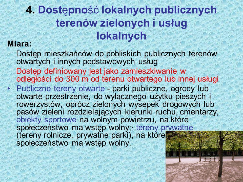 4. Dostępność lokalnych publicznych terenów zielonych i usług lokalnych Miara: Dostęp mieszkańców do pobliskich publicznych terenów otwartych i innych