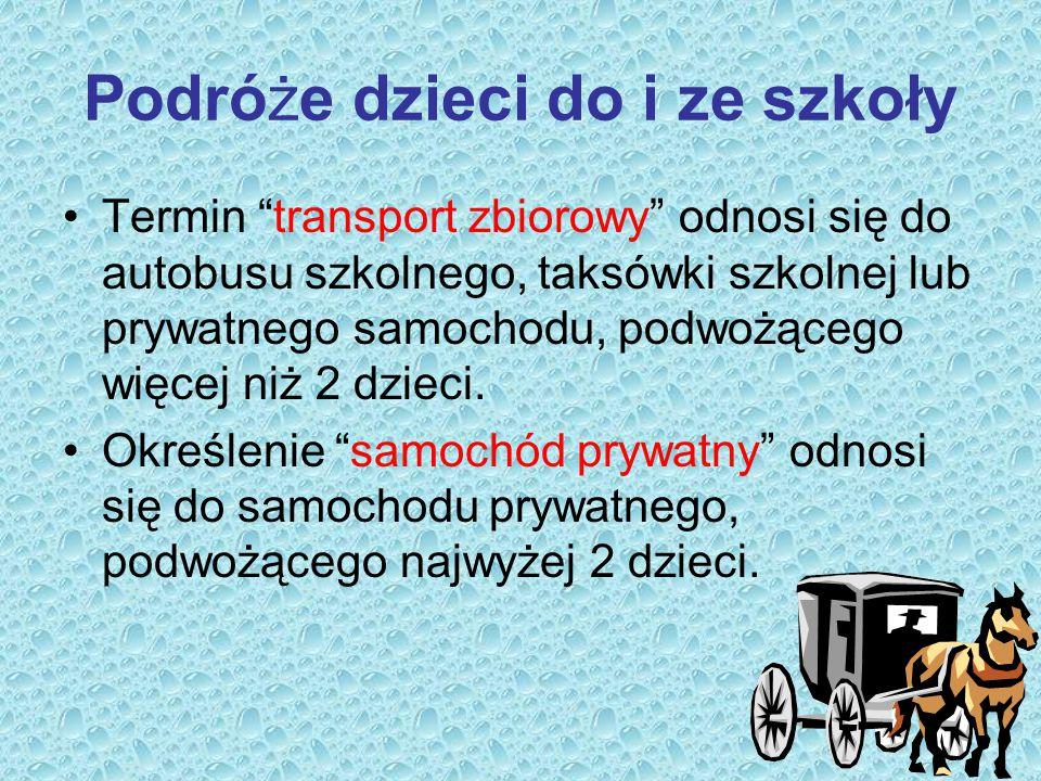 """Podróże dzieci do i ze szkoły Termin """"transport zbiorowy"""" odnosi się do autobusu szkolnego, taksówki szkolnej lub prywatnego samochodu, podwożącego wi"""