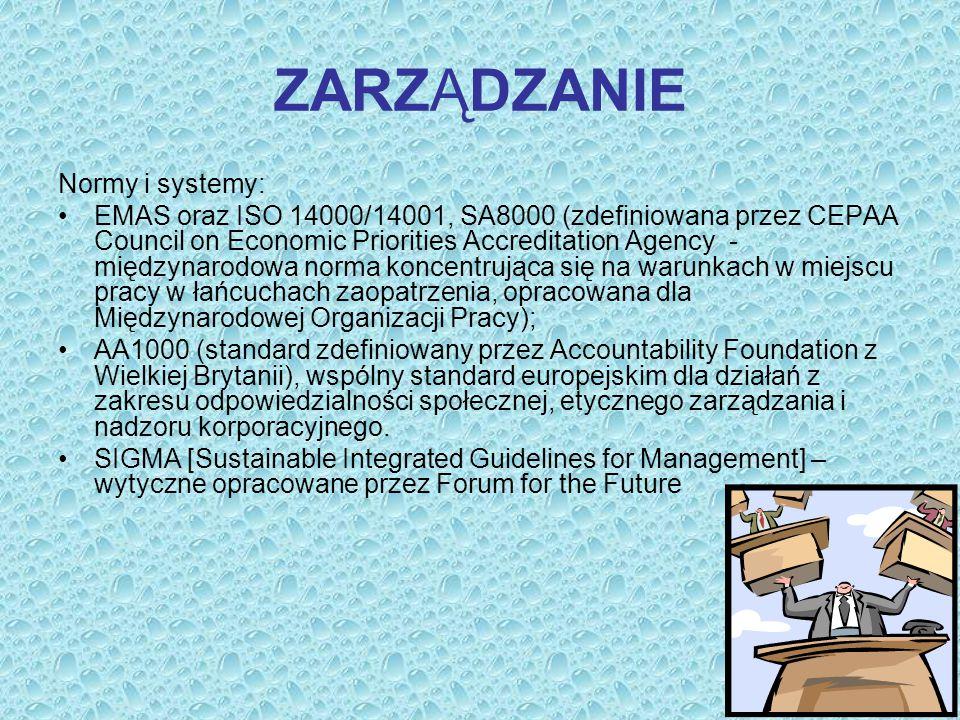 ZARZĄDZANIE Normy i systemy: EMAS oraz ISO 14000/14001, SA8000 (zdefiniowana przez CEPAA Council on Economic Priorities Accreditation Agency - międzyn