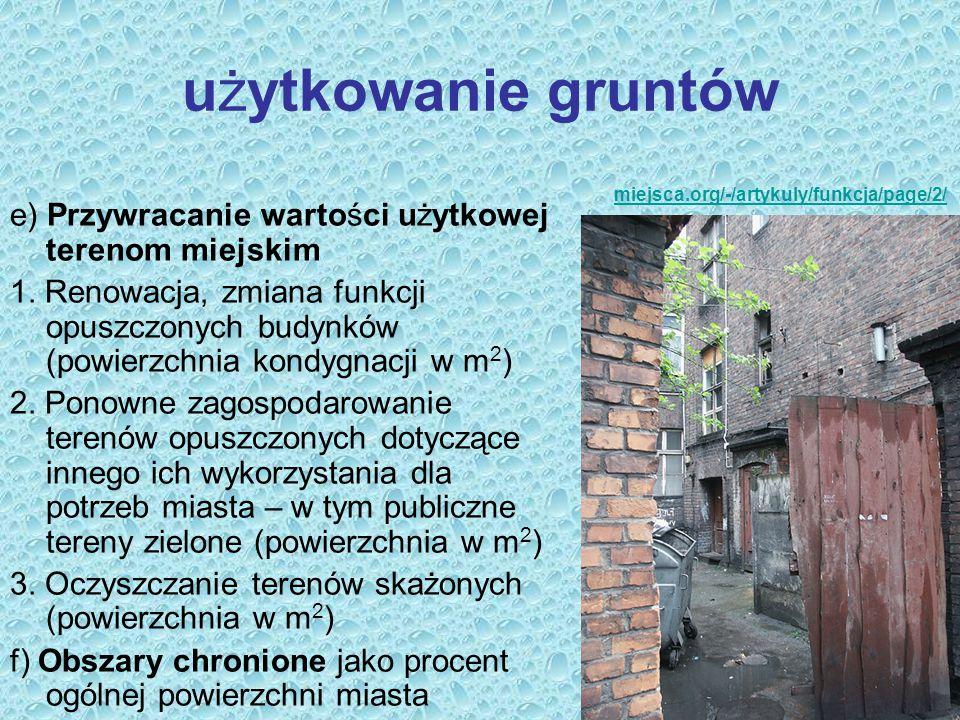 użytkowanie gruntów e) Przywracanie wartości użytkowej terenom miejskim 1. Renowacja, zmiana funkcji opuszczonych budynków (powierzchnia kondygnacji w