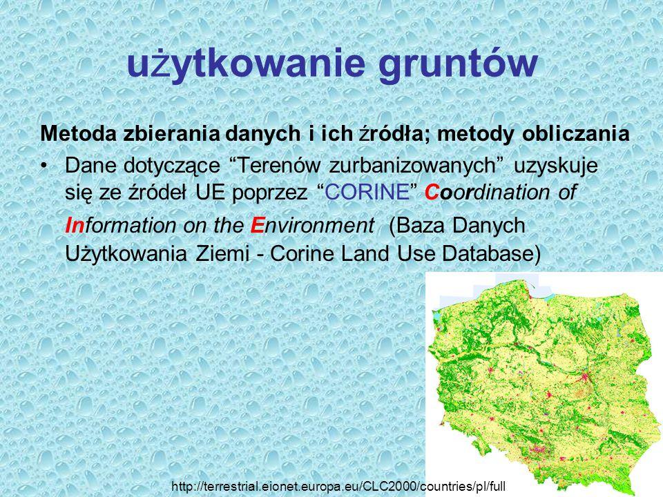 """użytkowanie gruntów Metoda zbierania danych i ich źródła; metody obliczania Dane dotyczące """"Terenów zurbanizowanych"""" uzyskuje się ze źródeł UE poprzez"""