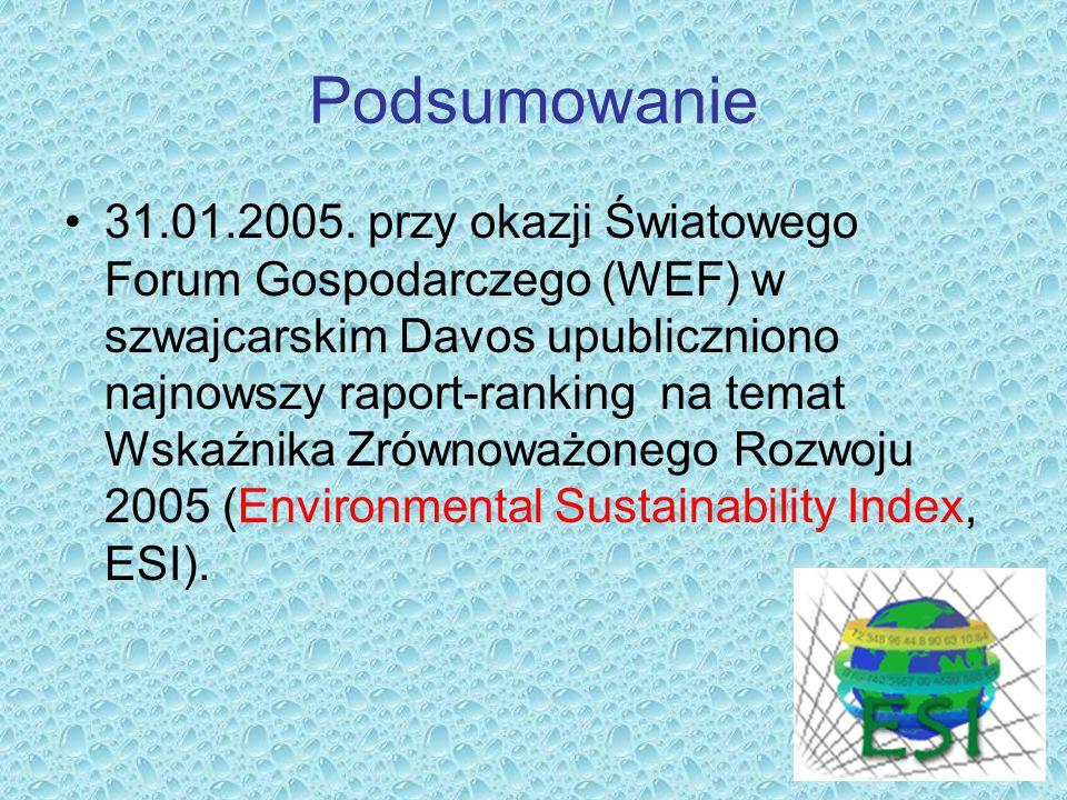 Podsumowanie 31.01.2005. przy okazji Światowego Forum Gospodarczego (WEF) w szwajcarskim Davos upubliczniono najnowszy raport-ranking na temat Wskaźni