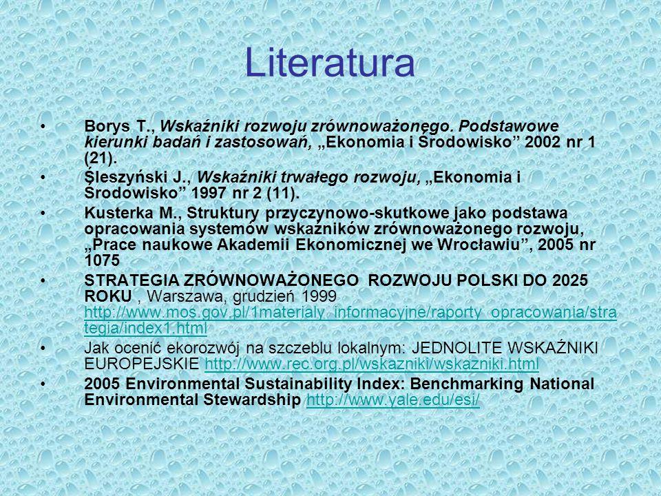 """Literatura Borys T., Wskaźniki rozwoju zrównoważonego. Podstawowe kierunki badań i zastosowań, """"Ekonomia i Środowisko"""" 2002 nr 1 (21). Śleszyński J.,"""
