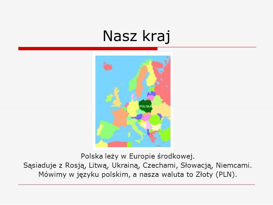 Nasz kraj Polska leży w Europie środkowej. Sąsiaduje z Rosją, Litwą, Ukrainą, Czechami, Słowacją, Niemcami. Mówimy w języku polskim, a nasza waluta to