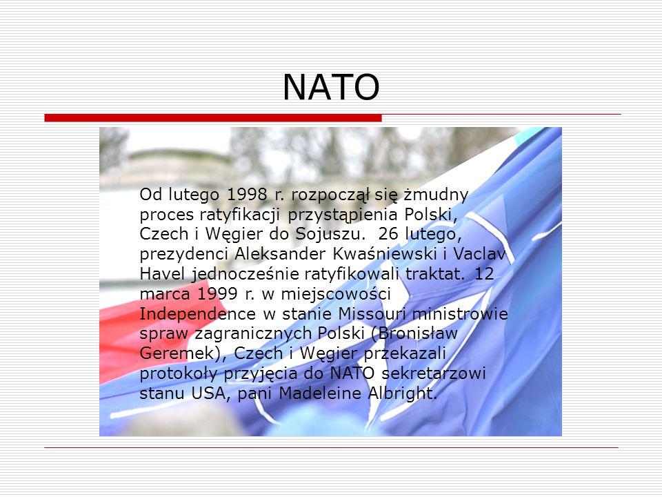 NATO Od lutego 1998 r. rozpoczął się żmudny proces ratyfikacji przystąpienia Polski, Czech i Węgier do Sojuszu. 26 lutego, prezydenci Aleksander Kwaśn