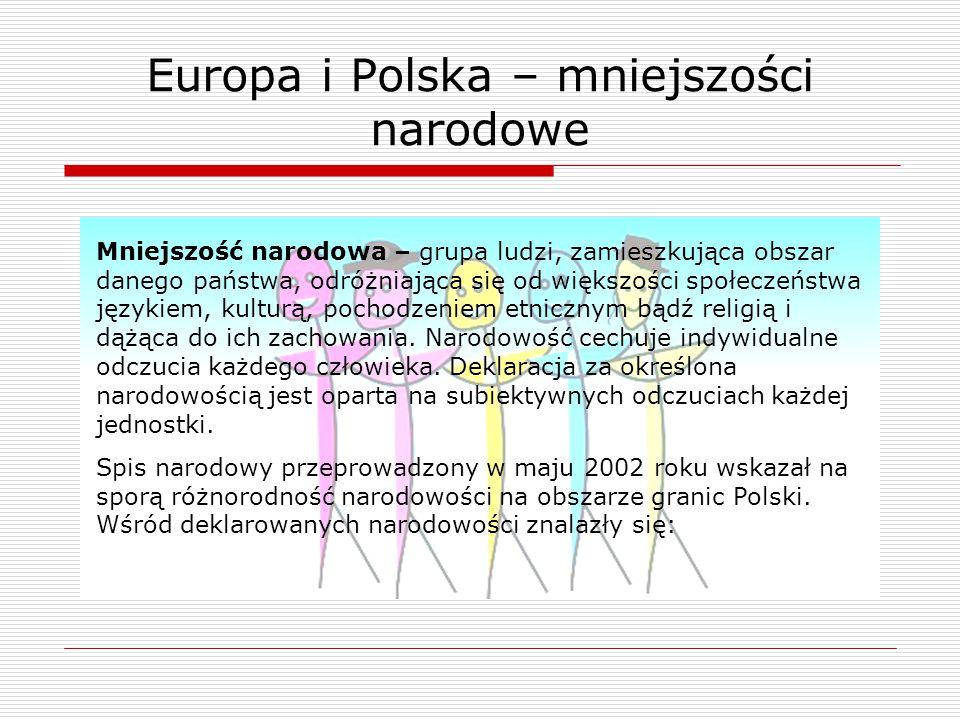 Europa i Polska – mniejszości narodowe Mniejszość narodowa – grupa ludzi, zamieszkująca obszar danego państwa, odróżniająca się od większości społecze