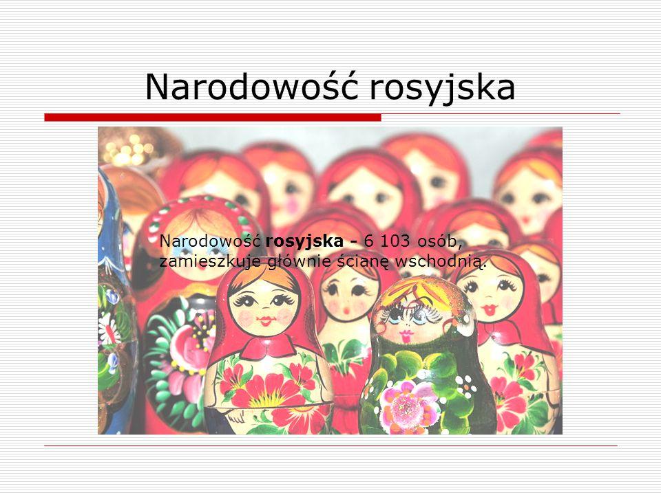 Narodowość rosyjska - 6 103 osób, zamieszkuje głównie ścianę wschodnią.