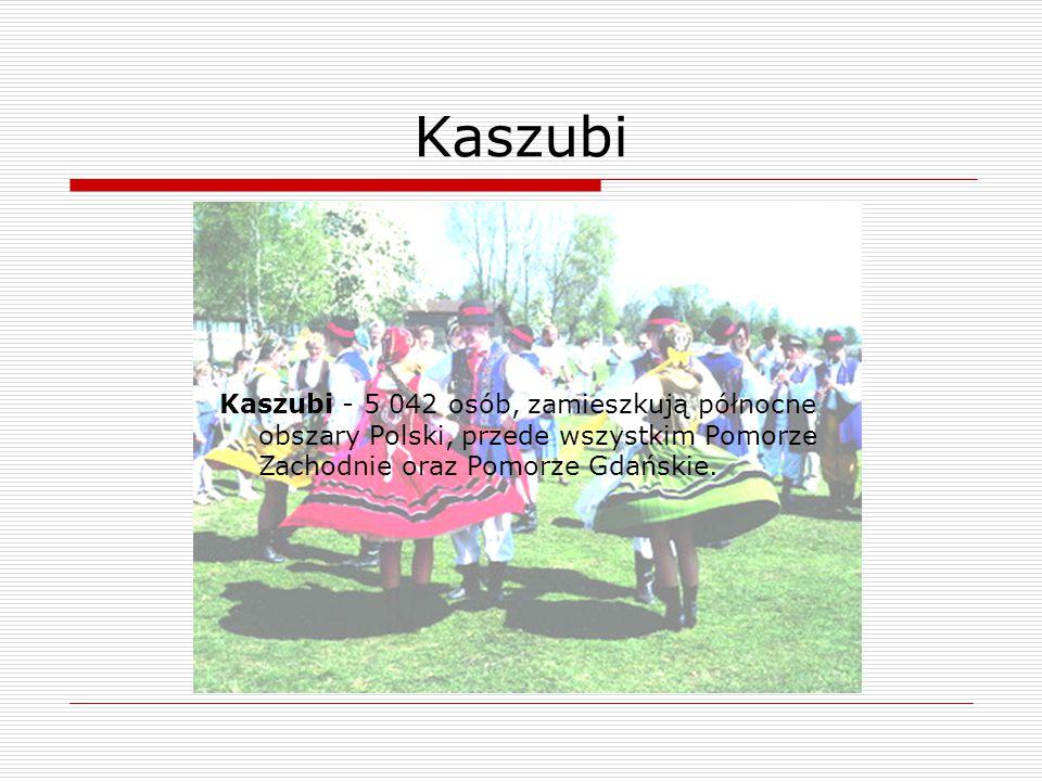 Kaszubi - 5 042 osób, zamieszkują północne obszary Polski, przede wszystkim Pomorze Zachodnie oraz Pomorze Gdańskie.