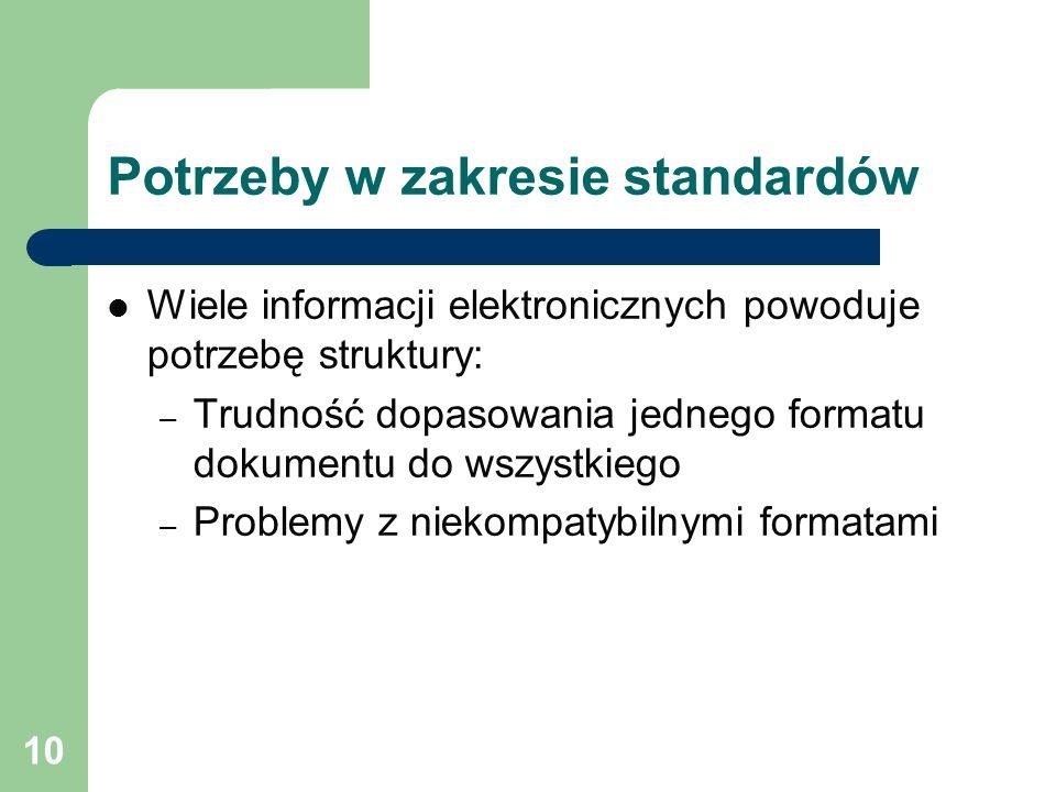 10 Potrzeby w zakresie standardów Wiele informacji elektronicznych powoduje potrzebę struktury: – Trudność dopasowania jednego formatu dokumentu do wszystkiego – Problemy z niekompatybilnymi formatami