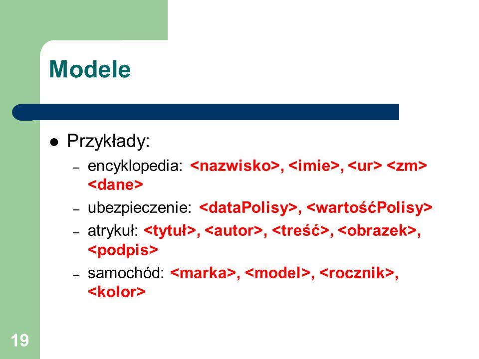 19 Modele Przykłady: – encyklopedia:,, – ubezpieczenie:, – atrykuł:,,,, – samochód:,,,