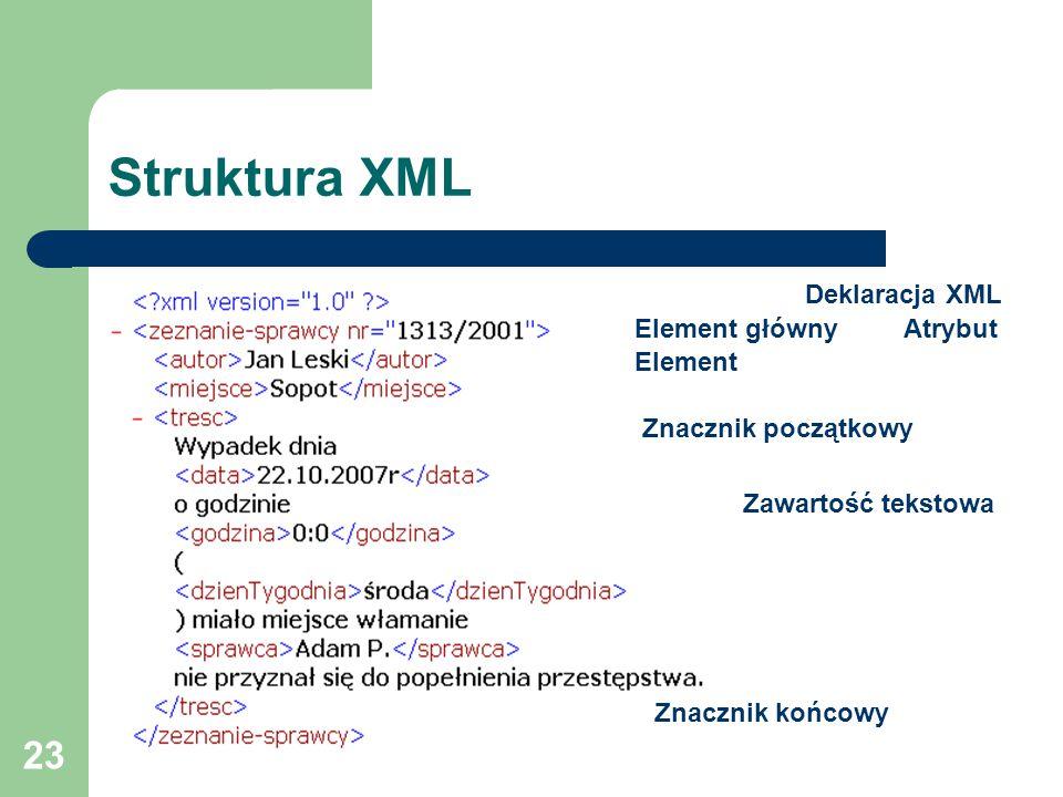 23 Struktura XML Deklaracja XML Atrybut Zawartość tekstowa Element główny Element Znacznik początkowy Znacznik końcowy