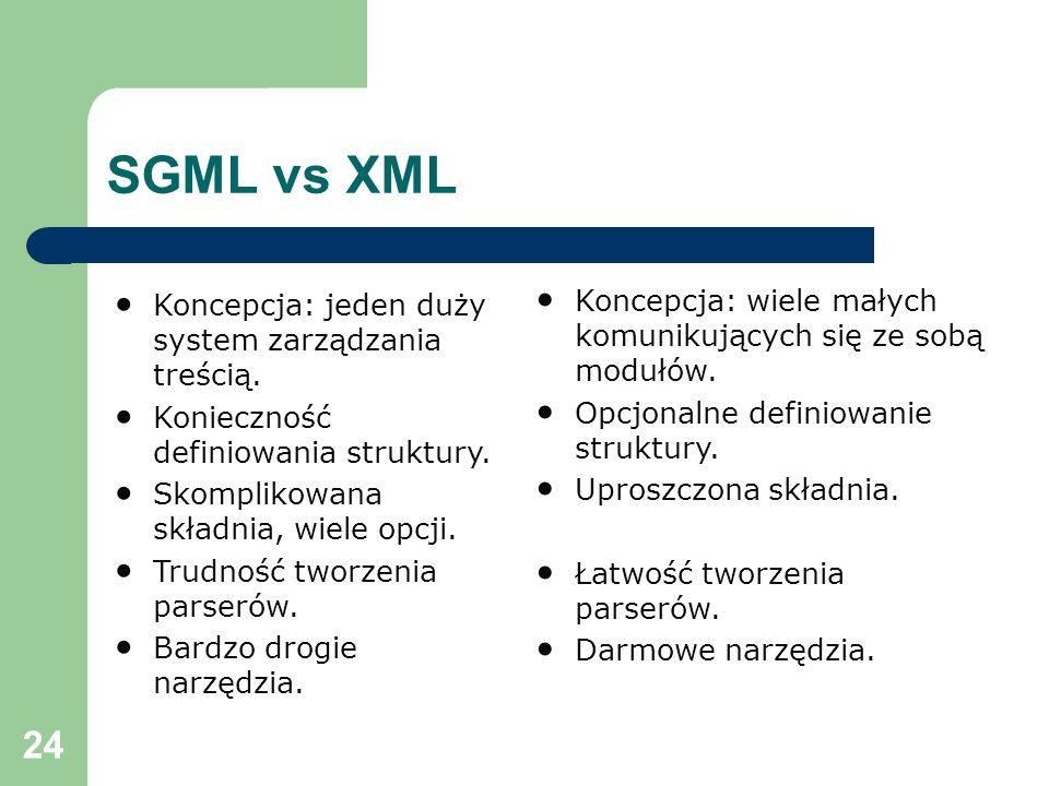 24 SGML vs XML Koncepcja: jeden duży system zarządzania treścią.