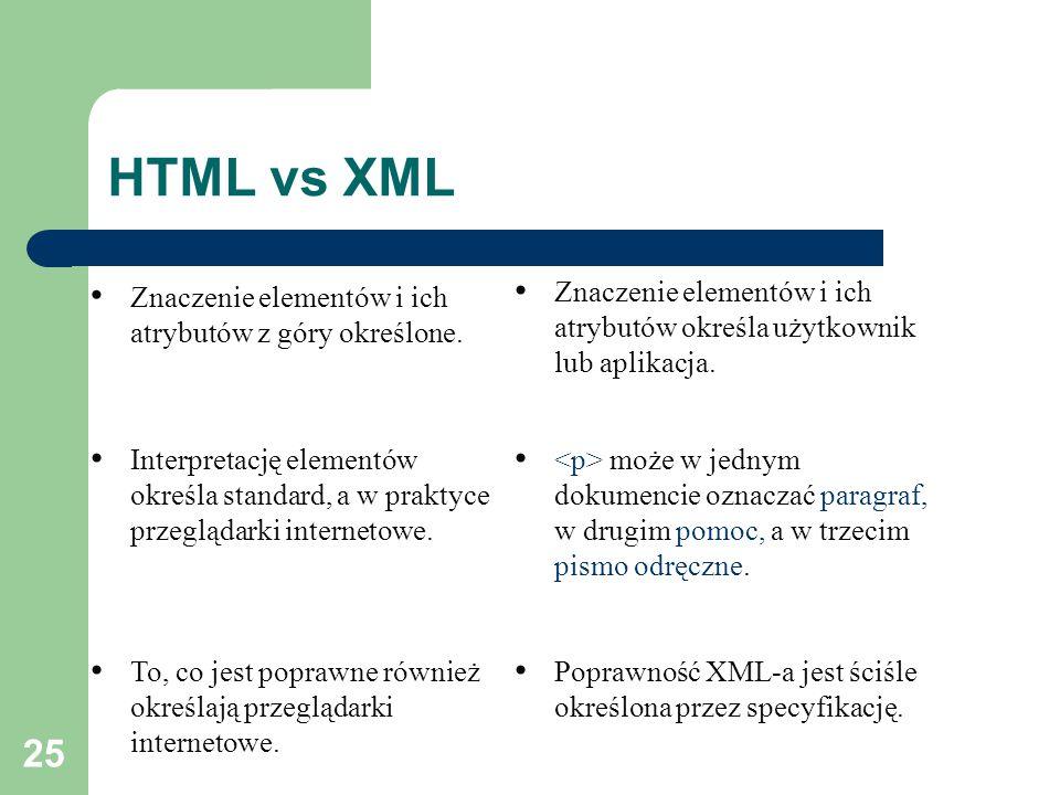 25 HTML vs XML Znaczenie elementów i ich atrybutów z góry określone.