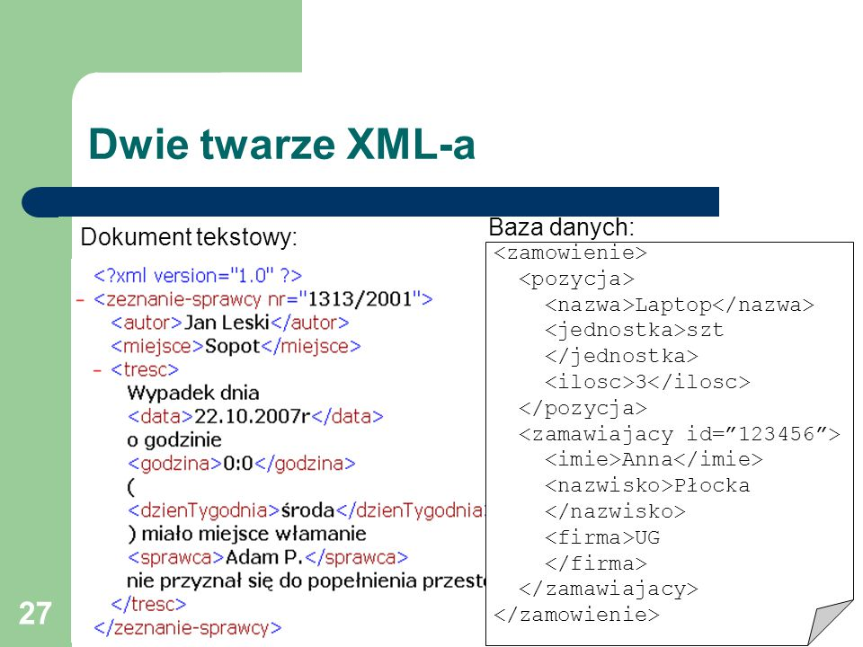 27 Dwie twarze XML-a Baza danych: Dokument tekstowy: Laptop szt 3 Anna Płocka UG