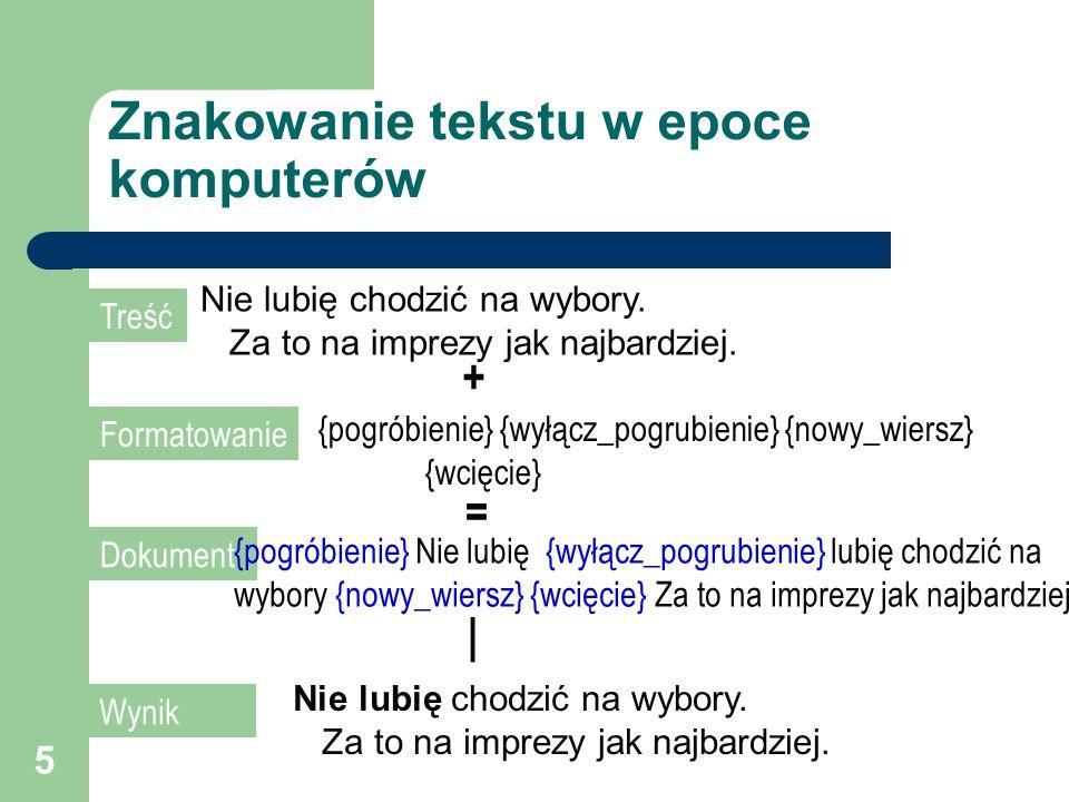 5 Znakowanie tekstu w epoce komputerów Nie lubię chodzić na wybory.