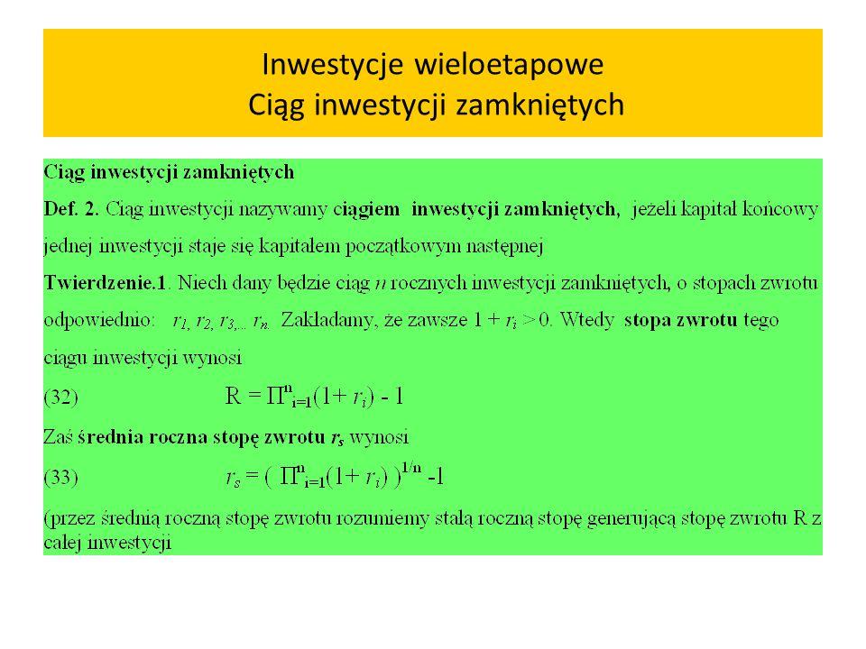 Uwzględnienie kosztu kapitału Przykład 1.