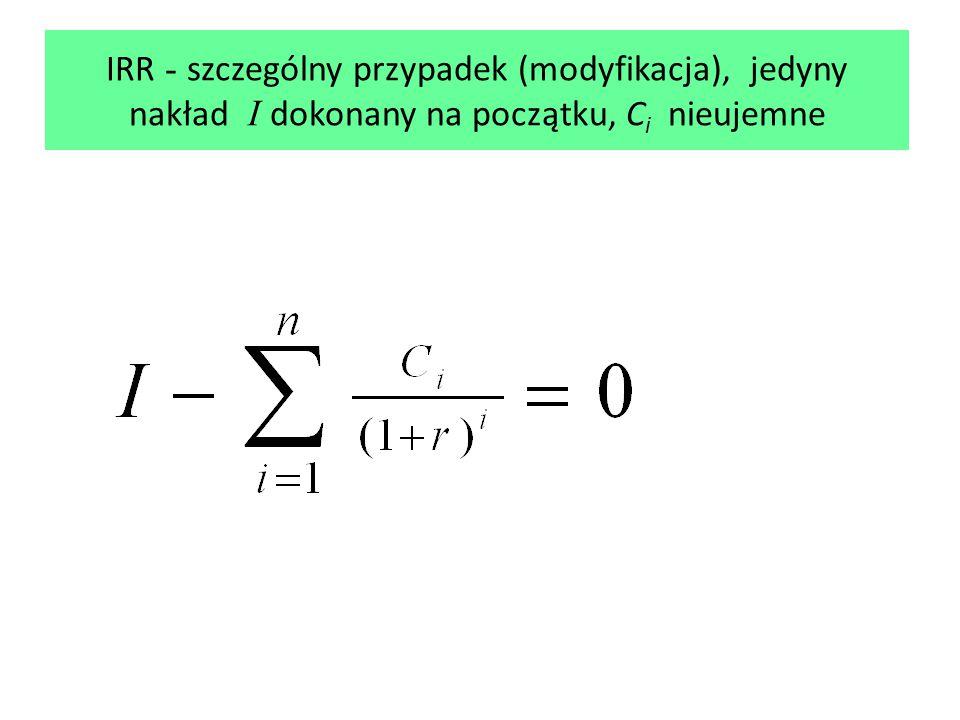 IRR - szczególny przypadek (modyfikacja), jedyny nakład I dokonany na początku, C i nieujemne