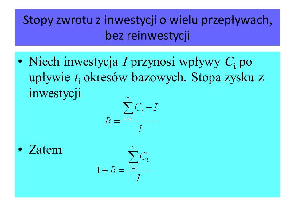 Stopy zwrotu z inwestycji o wielu przepływach, bez reinwestycji Niech inwestycja I przynosi wpływy C i po upływie t i okresów bazowych. Stopa zysku z