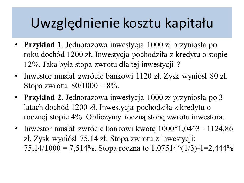 Uwzględnienie kosztu kapitału Przykład 1. Jednorazowa inwestycja 1000 zł przyniosła po roku dochód 1200 zł. Inwestycja pochodziła z kredytu o stopie 1