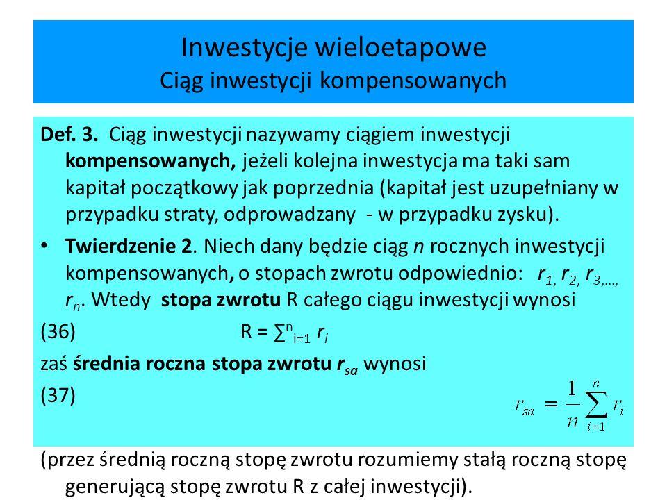 Wartość bieżąca netto (NPV) podsumowanie Zalety wskaźnika łatwość w obliczeniu jednoznaczność (przy ustalonej stopie dyskontowej) mianowanie w użytych w przepływach jednostkach monetarnych Wady zależność od skali inwestycji (pomnożenie nakładów i dochodów przez liczbę skutkuje zmianą NPV) zależność od wyboru stopy dyskontowej (nietrafny wybór stopy może zmienić znak wskaźnika)