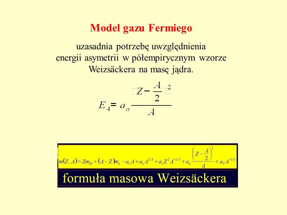 Model gazu Fermiego uzasadnia potrzebę uwzględnienia energii asymetrii w półempirycznym wzorze Weizsäckera na masę jądra.
