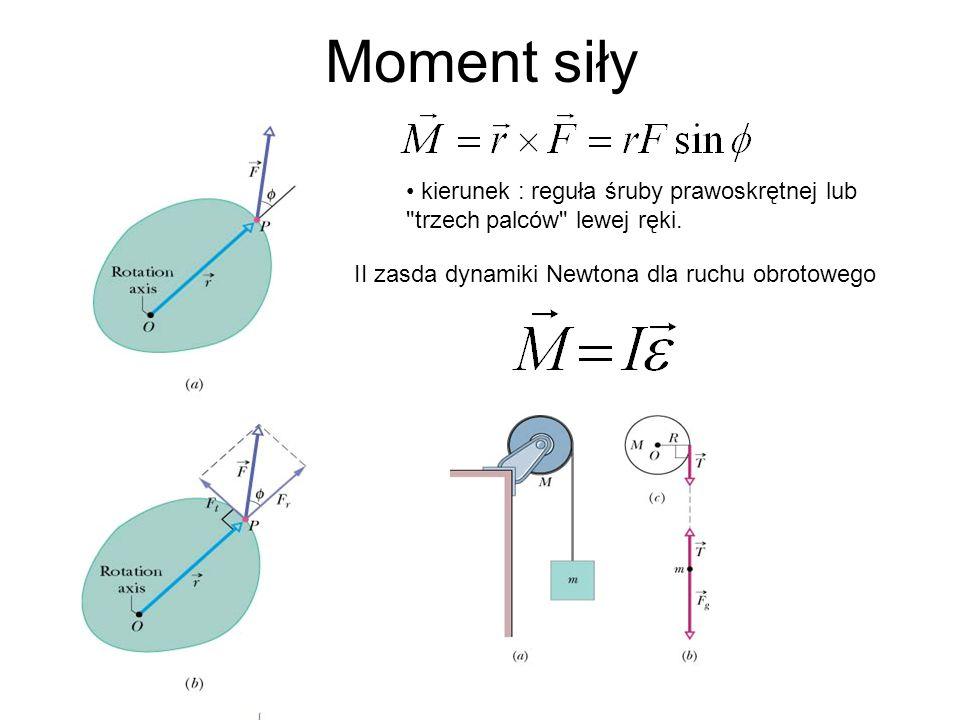 Moment siły II zasda dynamiki Newtona dla ruchu obrotowego kierunek : reguła śruby prawoskrętnej lub
