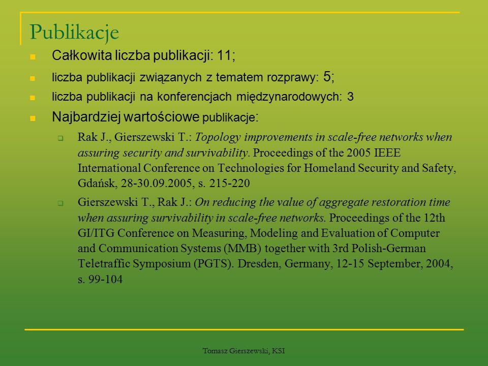Tomasz Gierszewski, KSI Publikacje Całkowita liczba publikacji: 11; liczba publikacji związanych z tematem rozprawy: 5; liczba publikacji na konferenc