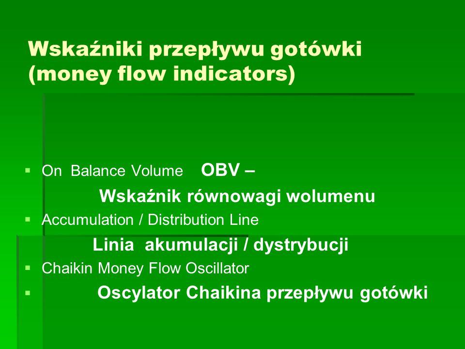 Wskaźniki przepływu gotówki (money flow indicators)   On Balance Volume OBV – Wskaźnik równowagi wolumenu   Accumulation / Distribution Line Linia akumulacji / dystrybucji   Chaikin Money Flow Oscillator   Oscylator Chaikina przepływu gotówki