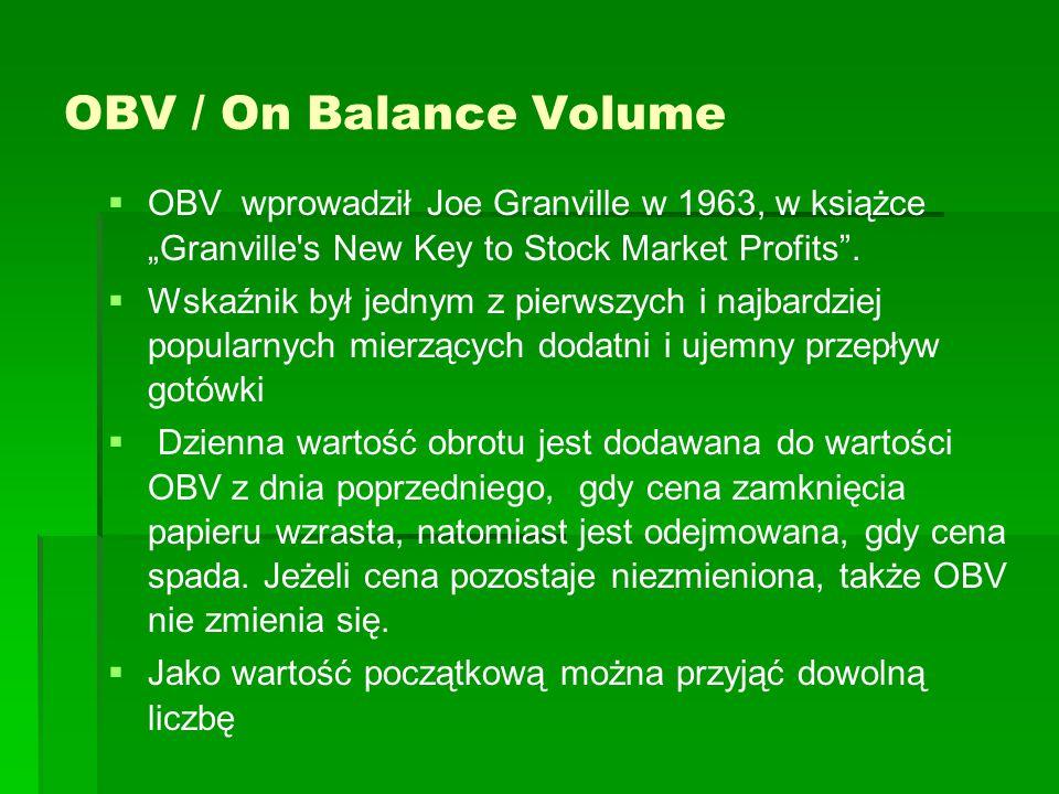 "OBV / On Balance Volume   OBV wprowadził Joe Granville w 1963, w książce ""Granville's New Key to Stock Market Profits"".   Wskaźnik był jednym z pi"