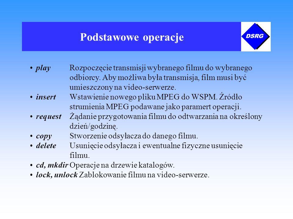Podstawowe operacje play Rozpoczęcie transmisji wybranego filmu do wybranego odbiorcy.