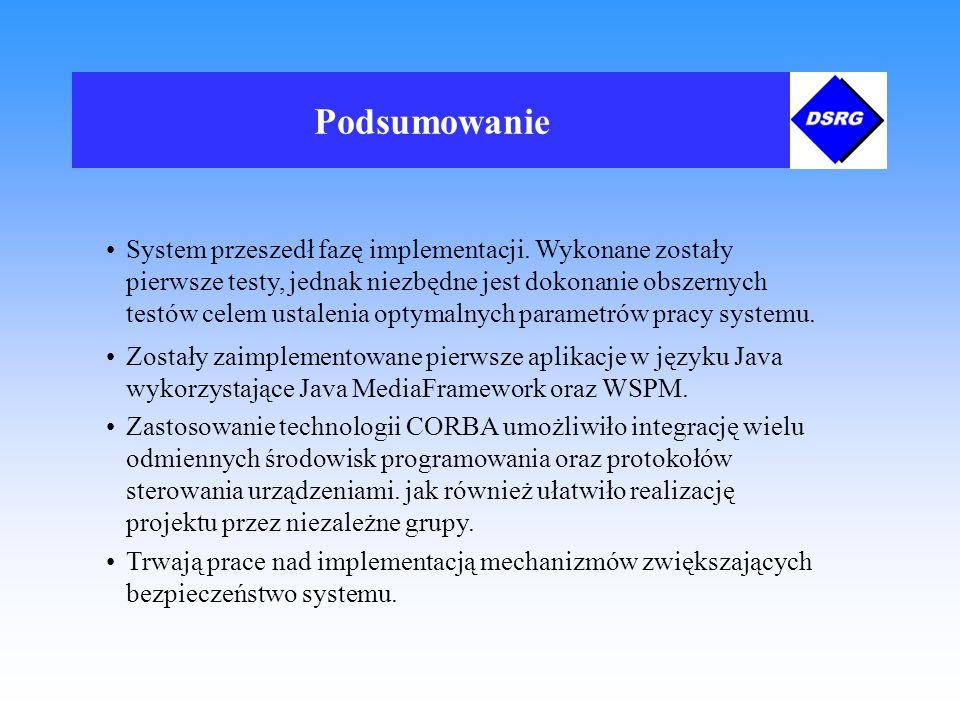 Podsumowanie System przeszedł fazę implementacji.