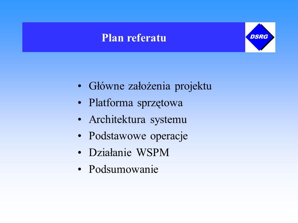 Główne założenia projektu stworzenie jednolitej z punktu widzenia użytkownika przestrzeni plików multimedialnych automatyczne zarządzanie dokumentami przechowywanymi w systemie obsługa dużych ilości dokumentów multimedialnych - kilkaset pełnometrażowych filmów skalowalność oraz możliwość adaptacji systemu do nowych rozwiązań sprzętowych prosty interfejs umożliwiający tworzenie aplikacji-klientów w wizualnych środowiskach programowania, takich jak np.