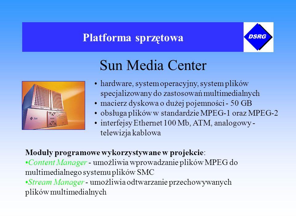 Platforma sprzętowa Sun Media Center Moduły programowe wykorzystywane w projekcie: Content Manager - umożliwia wprowadzanie plików MPEG do multimedialnego systemu plików SMC Stream Manager - umożliwia odtwarzanie przechowywanych plików multimedialnych hardware, system operacyjny, system plików specjalizowany do zastosowań multimedialnych macierz dyskowa o dużej pojemności - 50 GB obsługa plików w standardzie MPEG-1 oraz MPEG-2 interfejsy Ethernet 100 Mb, ATM, analogowy - telewizja kablowa