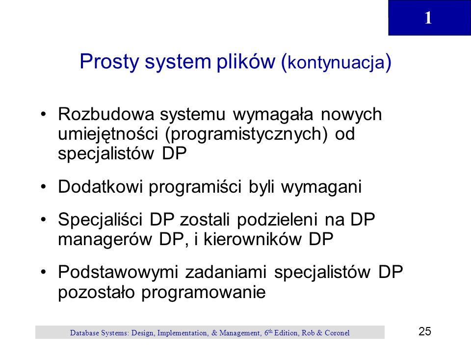 1 25 Database Systems: Design, Implementation, & Management, 6 th Edition, Rob & Coronel Prosty system plików ( kontynuacja ) Rozbudowa systemu wymaga