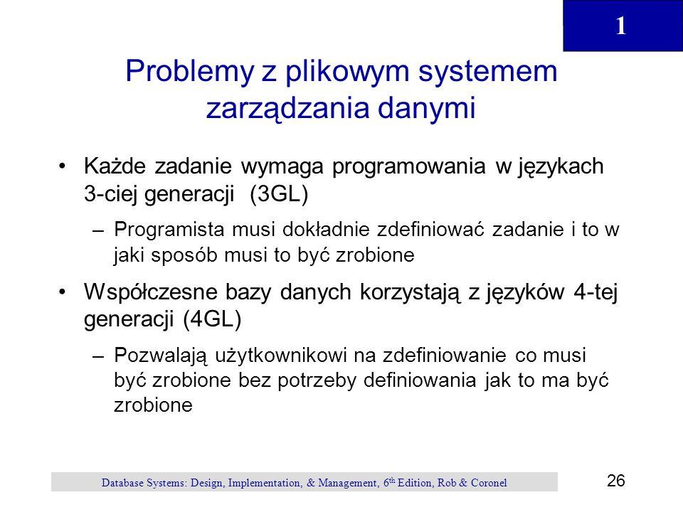 1 26 Database Systems: Design, Implementation, & Management, 6 th Edition, Rob & Coronel Problemy z plikowym systemem zarządzania danymi Każde zadanie