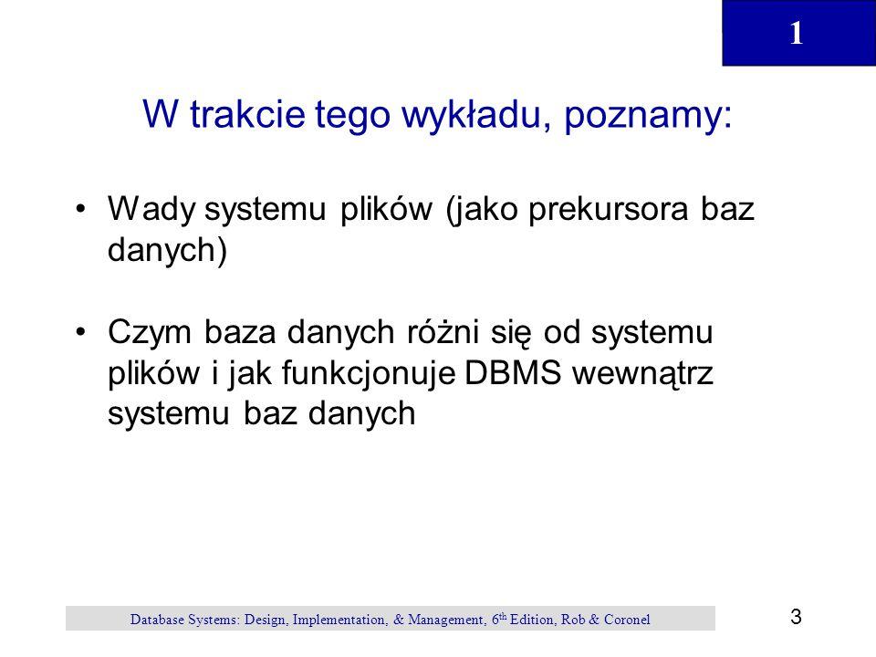 1 44 Database Systems: Design, Implementation, & Management, 6 th Edition, Rob & Coronel Podsumowanie Informacja jest pozyskiwana z danych które są przechowywane w bazie danych Do budowy i zarządzania bazą danych używamy DBMS Proces projektowania bazy danych definiuje jej strukturę Projektowanie jest bardzo ważne