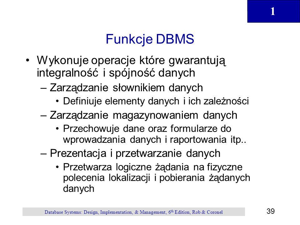1 39 Database Systems: Design, Implementation, & Management, 6 th Edition, Rob & Coronel Funkcje DBMS Wykonuje operacje które gwarantują integralność